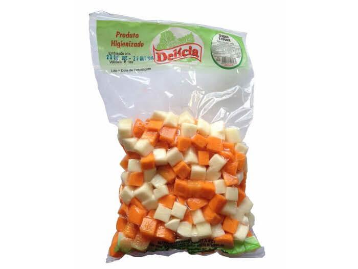Cenoura e Palmito Pupunha picados à Vácuo Delícia Higienizado 400 gramas