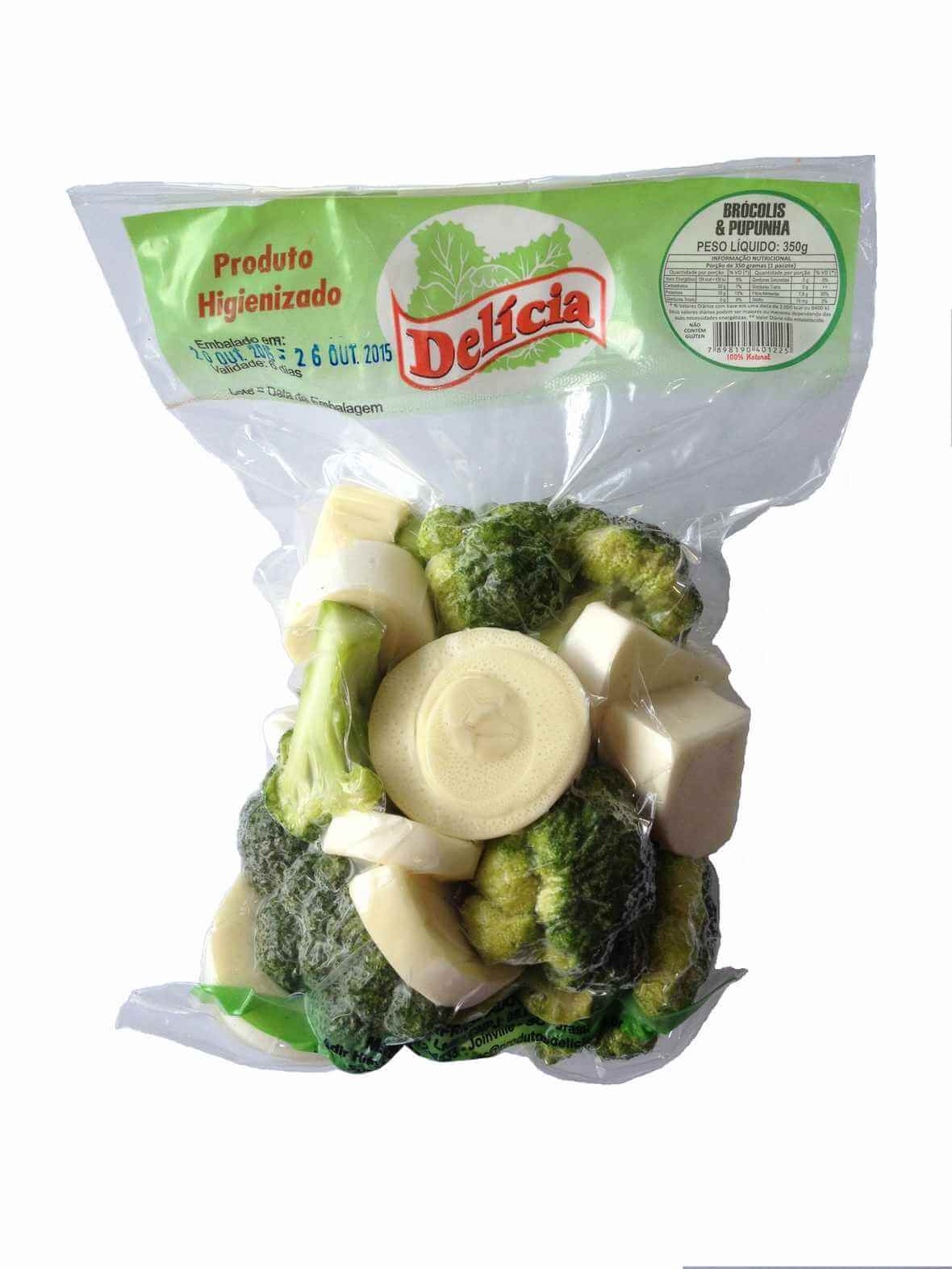 Brócolis e Palmito Pupunha à Vácuo Delícia Higienizado 350 gramas